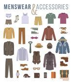 Muži módní oblečení a doplňky bytu vektorové ikony