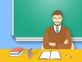 School teacher man at the desk flat education illustration