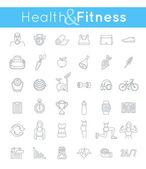 Fitness gym a zdravého životního stylu ploché tenké linie vektorové ikony
