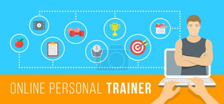 Online personal fitness instructor conceptual infographic illustration