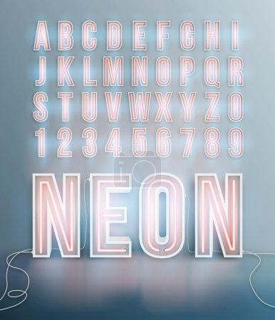 Illustration pour Alphabet police néon réaliste en format vectoriel - image libre de droit