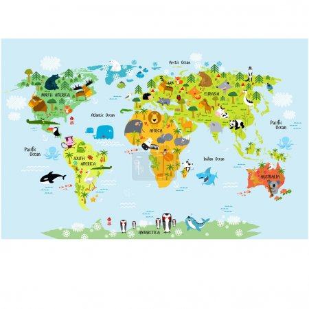 world map with animals for children