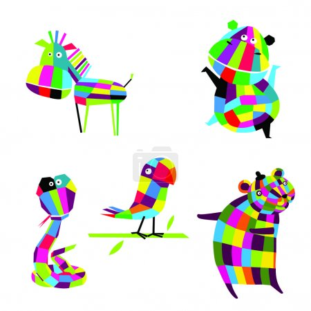 Vector illustration. Cheerful and colorful  animal...