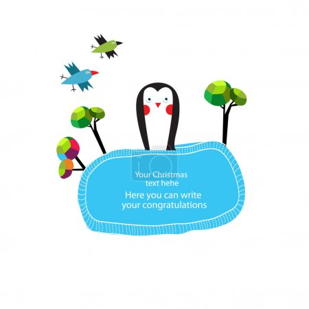 Vector cute blue frame with penguin...