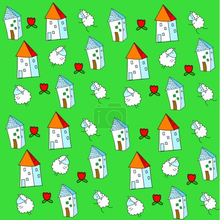 Illustration for Vector background with sheep and houses - Royalty Free Image