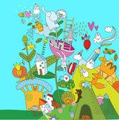 detailed cartoon illustration