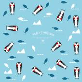 Vector Christmas background with cute penguins