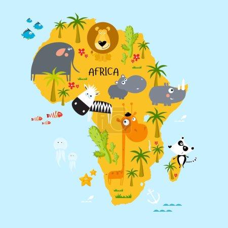 Illustration pour Illustration vectorielle du continent africain avec des animaux - image libre de droit