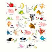 English alphabet with animals