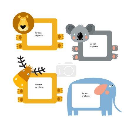 Illustration pour Vecteur Quatre cadres avec animaux - image libre de droit