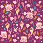 Vector floral background with ice cream and cups