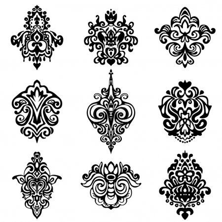 damask flower ornamental designs