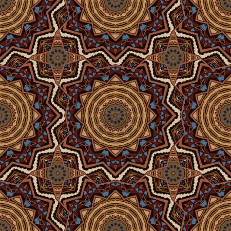 Vector abstract ethnic indian autumn seamless pattern tribal