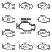 Set auto icons CHECK ENGINE Vector image