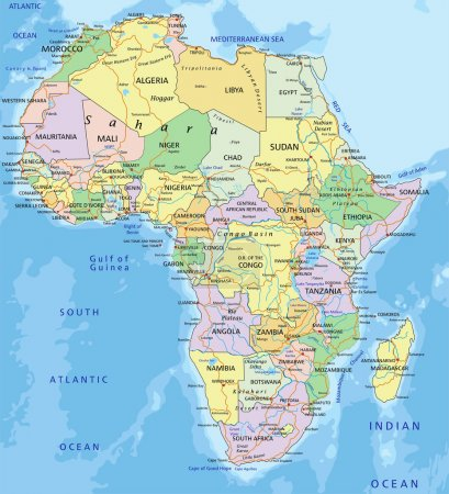 Africa - Highly detailed editable political map wi...