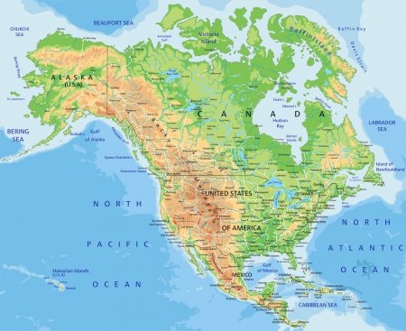 North America physical map with labeling.