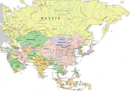 Asia - Highly detailed editable political map with...
