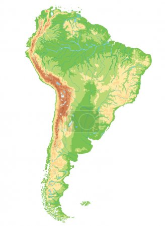 South America physical map.