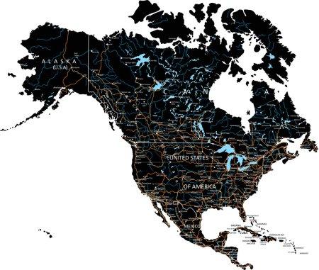 Carte routière de l'Amérique du Nord avec étiquetage