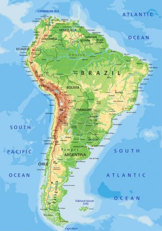 South America physical map with labeling.