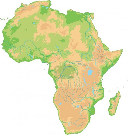 Africa physical map.