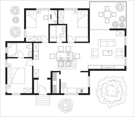 Illustration pour Plan d'étage noir et blanc d'une maison . - image libre de droit