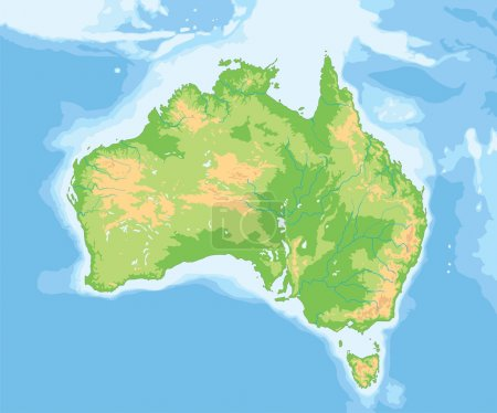 Australia physical map.