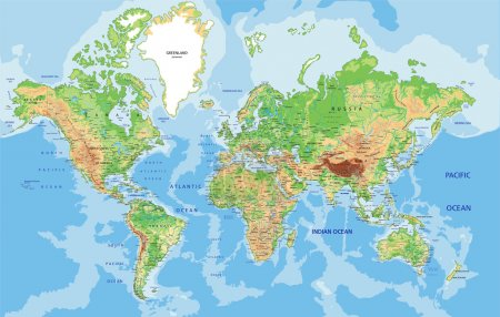 Highly detailed World map with labeling. Vector il...