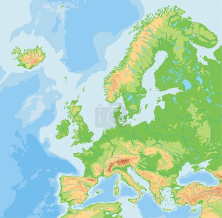 Europe physical map.