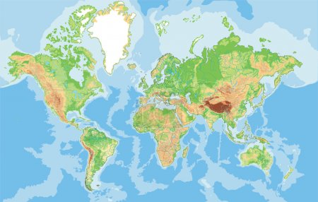 Illustration for Highly detailed World map. Vector illustration. - Royalty Free Image