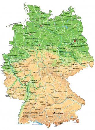 Germany physical map with labeling.