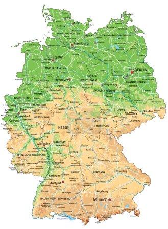 Allemagne carte physique avec étiquetage .