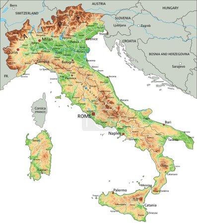 carte physique Italie avec étiquetage
