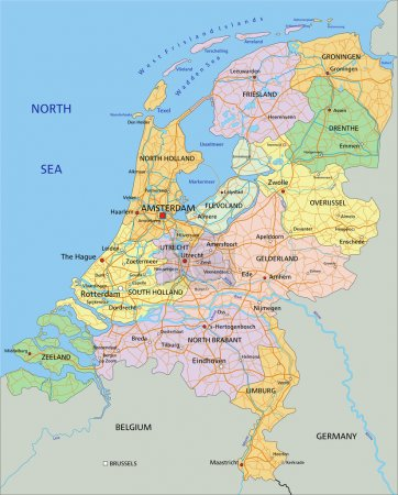 Netherlands - political map with separated layers.
