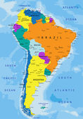 Colorful South America political map