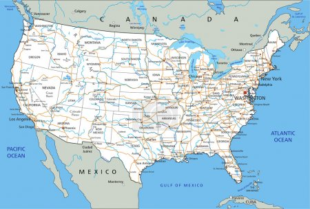 United States of America road map