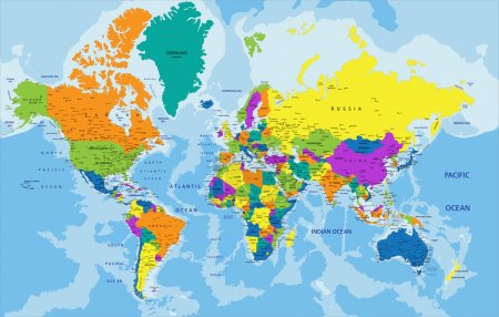 Colorful World political map