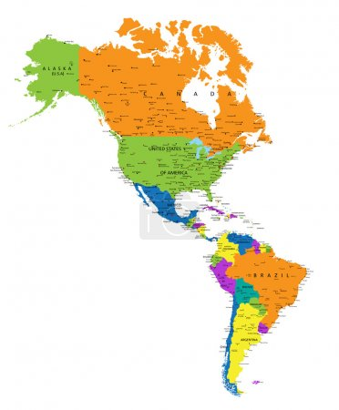Colorful Americas political map