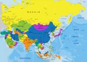Colorful Asia political map