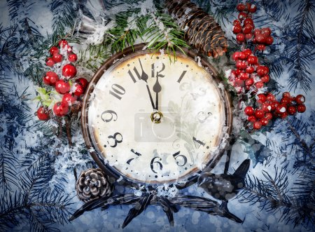 Photo for Christmas Eve and New Years at midnight. Clock covered with snow. - Royalty Free Image