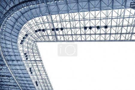 Construction of the stadium roof.