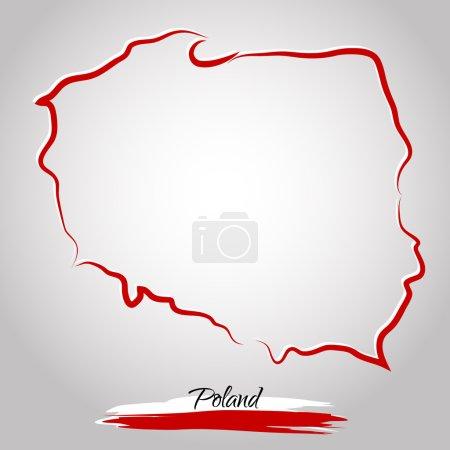 Illustration pour Carte vectorielle de la Pologne avec les couleurs du drapeau, sur le fond clair - image libre de droit