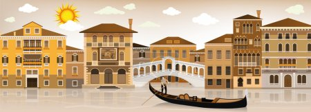 Illustration for Vector illustration of the Italian city of Venice (sepia tone) - Royalty Free Image