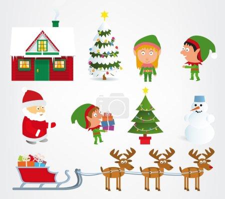Illustration for Vector illustration of classic christmas symbols (santa claus, elfs,...) - Royalty Free Image