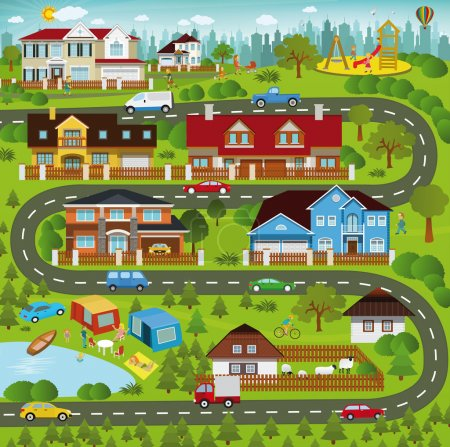 Illustration for Vector illustration of life in the suburbs (summer scenery) - Royalty Free Image