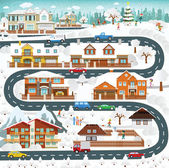 Vector illustration of life in the suburbs - winter