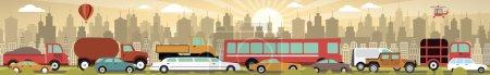 Illustration pour Illustration vectorielle de la confiture fraffique dans la ville (voiture derrière l'autre ) - image libre de droit