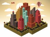 Vector illustration of city in perspective (town in autumn)