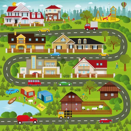 Illustration for Vector illustration - Life in the suburbs - Royalty Free Image