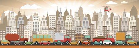 Illustration pour Illustration vectorielle des embouteillages - image libre de droit